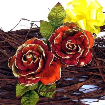 Pretty Velvet Roses x 2 ( Rust Shade)