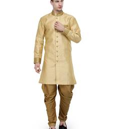 Buy Beige And Gold Plain Sherwani For Men gifts-for-brother online