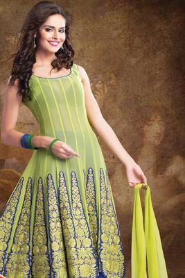 Light Green georgette anarkali with thread work & square neck-SL2563-parrotgreen
