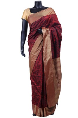 Maroon nano silk resham worked saree with dark maroon blouse - SR5127