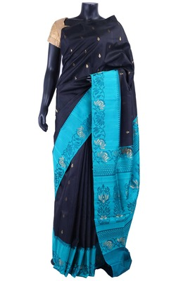 Black silk zari butta saree in blue jaquard with Zari worked pallu - SR5173