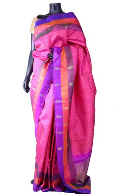 Pink pure silk weaved saree in purple & gold zari weaved pallu-SR5274