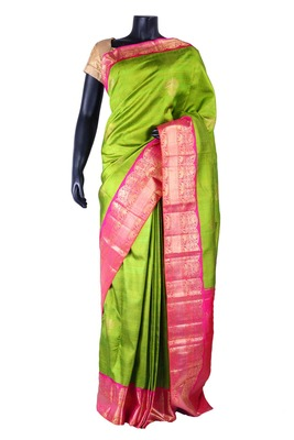Bright green pure silk zari weaved saree in bright pink border & pallu-SR5323