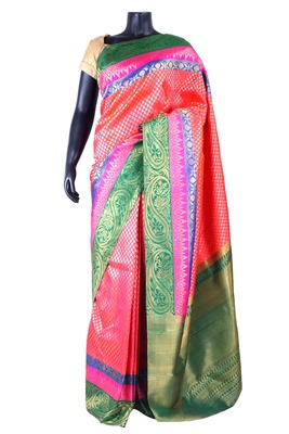 Peachish pink pure silk zari weaved saree with dark green pallu-SR5324