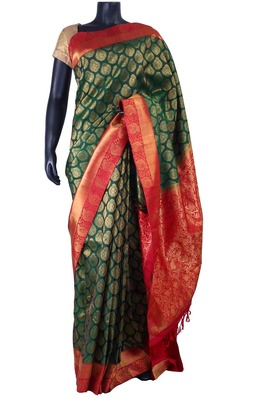 Bottle Green Zari weaved Silk Saree with Rust zari Peacock Border-SR5328