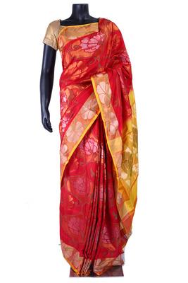 Red pure silk zari weaved saree in multi colour border & pallu-SR5361
