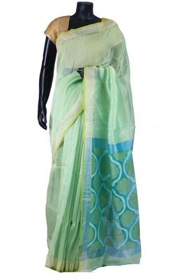Light green tussar fabric saree in blue weaved pallu & silver border-SR5449