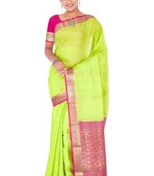 Buy Neon green  pure_crepe saree with blouse crepe-saree online