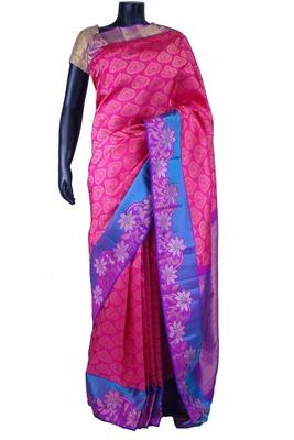 Dark pink pure silk zari weaved saree in purple & blue border-SR5534