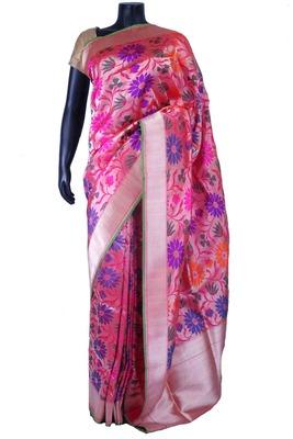 Pink pure silk zari weaved saree in silver border & pink blouse-SR5557
