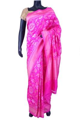 Baby pink pure silk zari weaved saree in golden border & pink pallu-SR5567