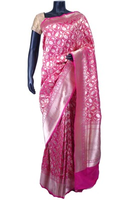 Dark pink pure silk zari weaved saree in silver border & pallu -SR5572