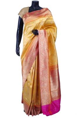 Gold pure silk zari weaved saree in peach border & pallu-SR5574