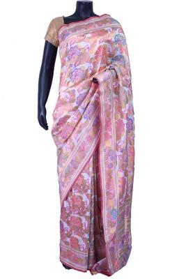 Multi colour pure silk zari weaved saree in multi colour pallu & blouse-SR5581