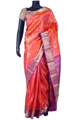 Orange pure silk zari weaved saree in purple pallu & blouse-SR5600