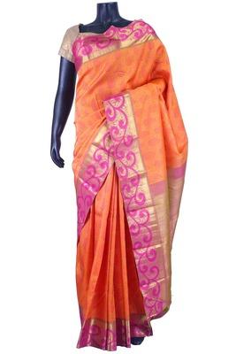 Orange pure silk zari weaved saree with rust weaved blouse-SR5643