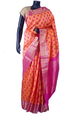 Orangish pink pure silk weaved saree with pink zari weaved pallu-SR5649