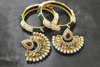 New Ram Leela Maroon & Green Colour Earrings with White & Green colour Bead Bangles set