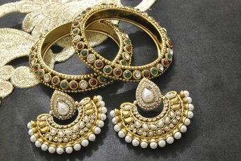 New Ram Leela Pearl Earrings with Multicolour Gold Plated Bangles