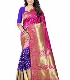 Buy Pink printed art silk saree with blouse banarasi-saree online