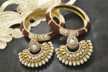 New Ram Leela Pearl Earrings with White & Red colour Bead Bangles set