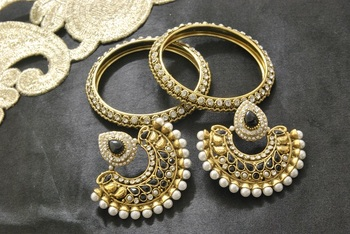 New Ram Leela Black Colour Earrings with Gold Plated Stones Bangles