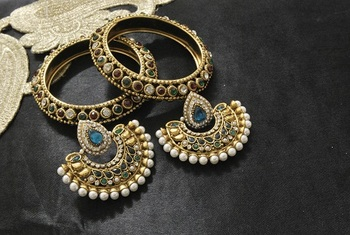 New Ram Leela Rama Green colour Earrings with Multicolour Gold Plated Bangles