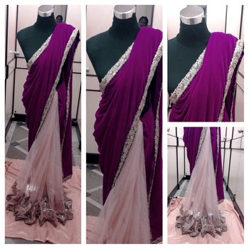 Biege Net bottom with Purple Velvet  with heavy Embriodery all over the saree.Gold Jamwar Unstitched 80cm Blouse piece