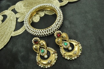 Long Earrings with Maroon & Green colour stones & Gold Plated Kada Studded with Pearl