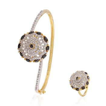 Harmony gold plated american diamond combo