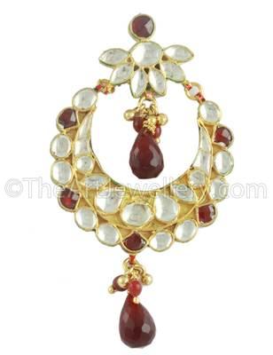 Maroon Red Jadau Kundan Dangle and Drop Earrings Jewellery for Women - Orniza