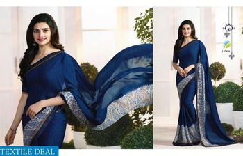 Blue printed pure silk saree with blouse