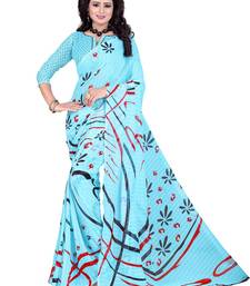 Buy Sky blue printed chiffon saree with blouse below-1500 online