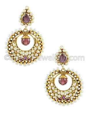 Red Traditional Rajwadi Dangle and Drop Earrings Jewellery for Women - Orniza