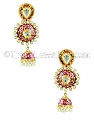 Red Traditional Rajwadi Jhumki Earrings Jewellery for Women - Orniza