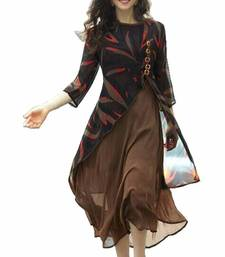 Buy Brown printed georgette stitched long-kurtis long-kurti online