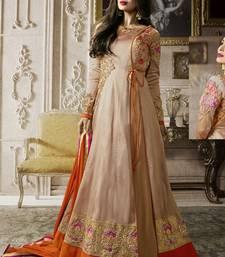 Buy Light beige multi resham work silk salwar malaika-arora-khan online