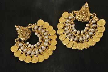 Ram Leela Pearl Coin Earrings