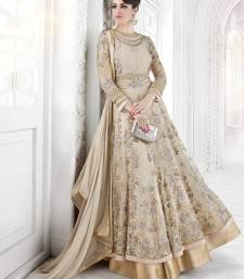 Buy Beige embroidered georgette salwar with dupatta anarkali-salwar-kameez online