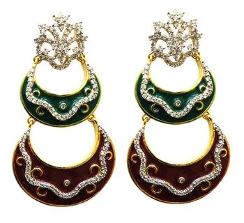 vatika designer maroon and green american diamond earring