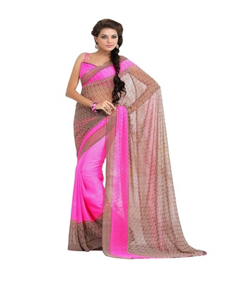 pink printed saree  chiffon saree