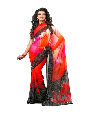 orange printed saree  georgette saree