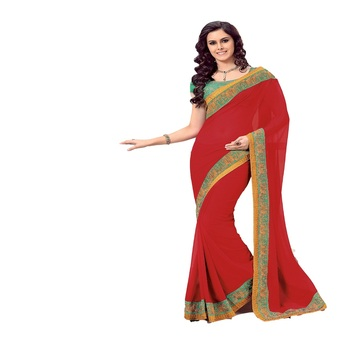 Red Georgette Designer Saree With Blouse Piece