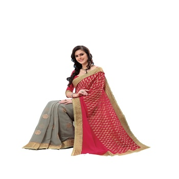 red & grey Georgette Designer Saree With Blouse Piece