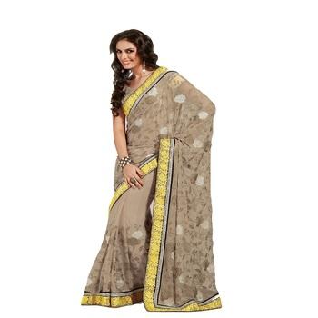 beige art chiffon Designer Saree With Blouse Piece