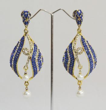 Blue Gold Twin Pearl Teardrop Dangler Earrings