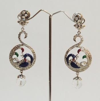 Silver Antique Peacock Crystal Teardrop Earrings