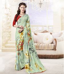 Buy Light green printed crepe saree with blouse crepe-saree online