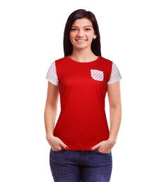 Buy Womens S/Slv Red Top With Star Print Sleeves And Pocket party-top online