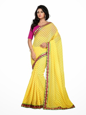 Style Yellow color Royal braso all over design saree.